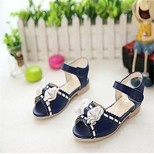 ZGSX 2017 niñas Summer sweet del arco zapatos de la princesa cabeza de pescado sandalias planas de velcro Azul