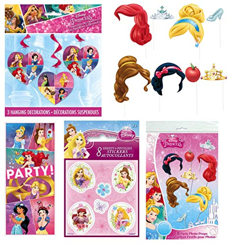 Unique Disney Princess Party Favors and Decorations | Poster, Photo Props, Hanging Swirls, Note Pads and Stickers -