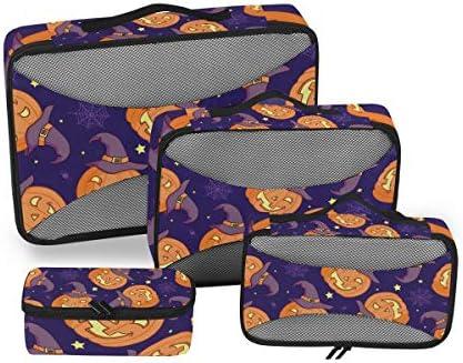 ハロウィーンパンプキンゴーストバット荷物パッキングキューブオーガナイザートイレタリーランドリーストレージバッグポーチパックキューブ4さまざまなサイズセットトラベルキッズレディース
