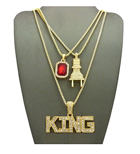 MENS ICED OUT GOLD SILVER KING ANKH, CROSS, RED RUBY, PLUG PENDANT BOX CHAIN 3 NECKLACE SET HIP HOP (King Red Ruby Plug) (Ruby Cross Chain)