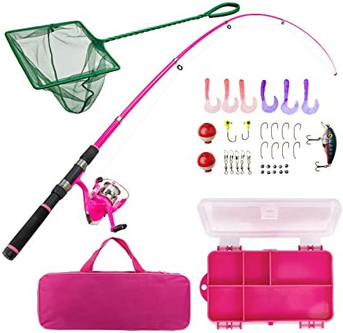Lanaak Pink Fishing Pole and Tackle Box – Telescoping Rod with Spinning Reel, Net, Travel Bag, and Beginner s Guide – Kids Fishing Rod and Reel Kit