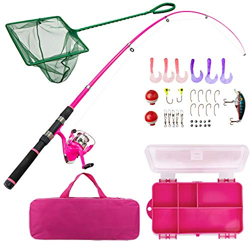 Lanaak Pink Fishing Pole and Tackle Box - Telescoping Rod with Spinning Reel, Net, Travel Bag, and Beginner's Guide - Kids Fishing Rod and Reel Kit (Best Spinning Rod Under $50)