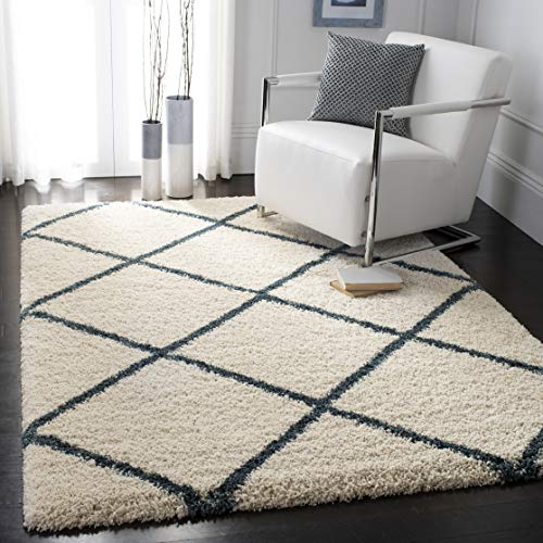 Safavieh Hudson Shag Collection SGH281T Ivory and Slate Blue Moroccan Diamond Trellis Area Rug (8' x 10') ()