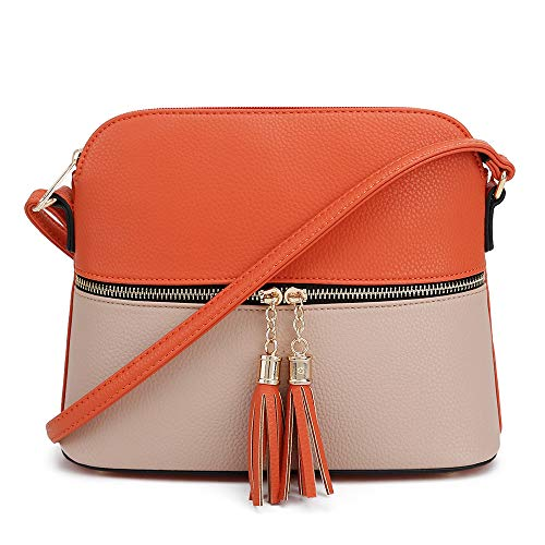 Orange Tassel (SG SUGU Lightweight Medium Dome Crossbody Bag with Tassel | Zipper Pocket | Adjustable Strap (Orange/Clay))