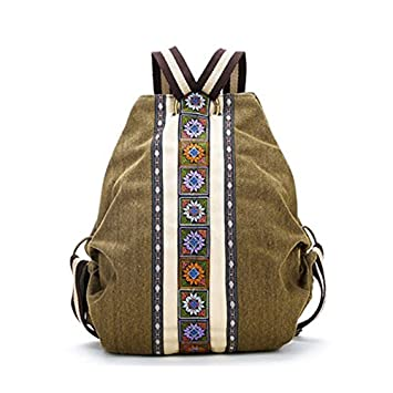 REFURBISHHOUSE Mochila de Lienzo Etnico Tribal para Mujer Bolsa de Hombro Hippie Mochila de Estilo de Bohemio para Ninas: Amazon.es: Equipaje