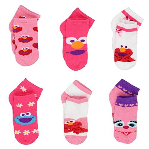 Sesame Street 6 Pack Girls Quarter Socks (Sesame Street Toddler Shoes)