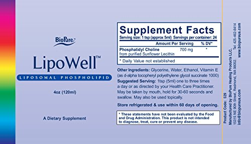 BioPure LipoWell Liposomal Phospholipid (4 oz) by BioPure