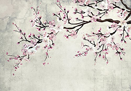 wall26 - Large Wall Mural - Watercolor Style Ink Painting Pink Cherry Blossom on Vintage Wall Background | Self-Adhesive Vinyl Wallpaper/Removable Modern Wall Decor - 100x144 inches by wall26 (Image #1)
