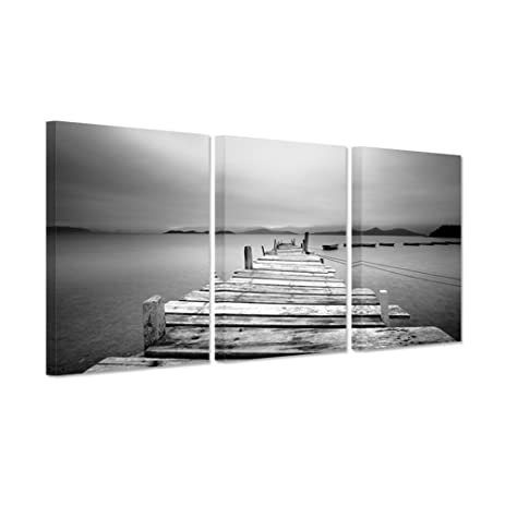 Hello artwork modern canvas wall art black and white pier and boats beach art decor