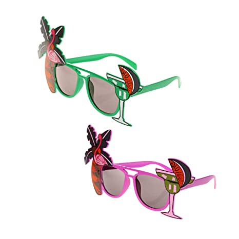 Baoblaze 2X Gafas de Sol Flamingo Cocktail Hawaiian ...