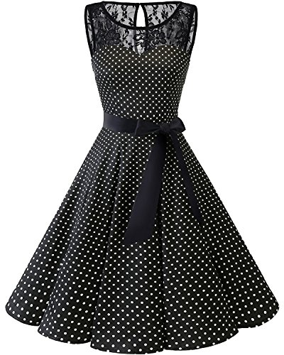 Bbonlinedress Women's 1950s Vintage Rockabilly Swing Dress Lace Cocktail Prom Party Dress Black White Dot S ()
