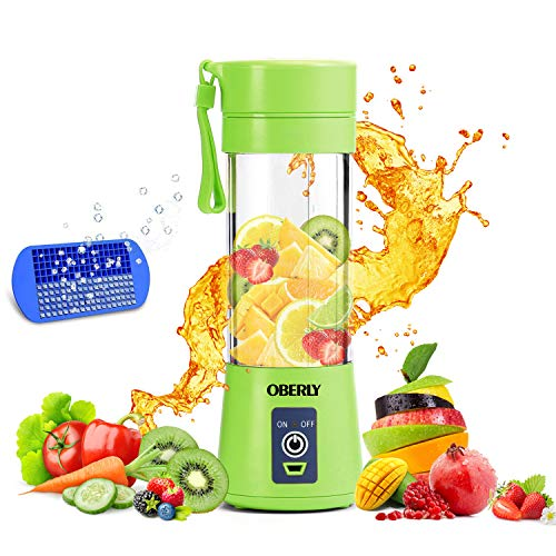 Portable Blender, OBERLY Smoothie Juicer Cup – Six Blades in 3D, 13oz Fruit Mixing Machine with 2000mAh USB Rechargeable Batteries, Ice Tray, Detachable Cup, Perfect Blender for Personal Use (FDA, BPA Free)