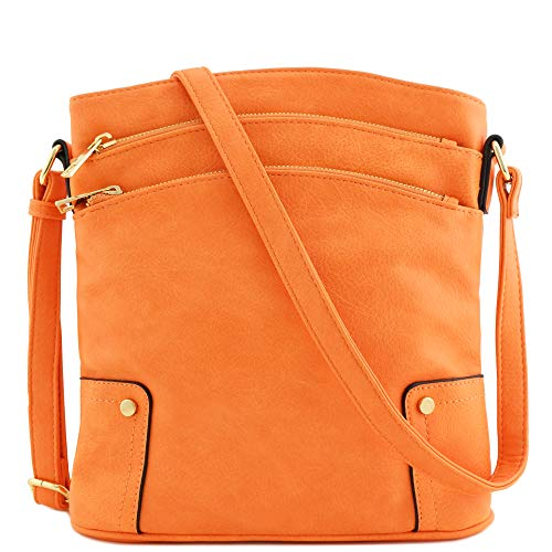 Triple Zip Pocket Large Crossbody Bag (Orange)