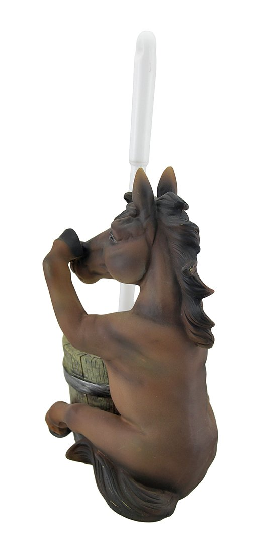 Zeckos Polyresin Toilet Brushes Brown Nose Holding Horse Helper Toilet Brush and Holder Set 7 X 13.5 X 4.5 Inches Brown by Zeckos (Image #3)