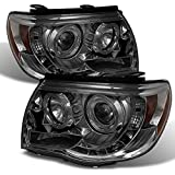For Toyota Tacoma Pickup Smoked Smoke Dual Halo Ring Design Projector LED Replacement Headlights Lamps