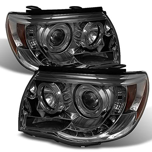 For Toyota Tacoma Pickup Smoked Smoke Dual Halo Ring Design Projector LED Replacement Headlights Lamps - Toyota Tacoma Halo Headlights