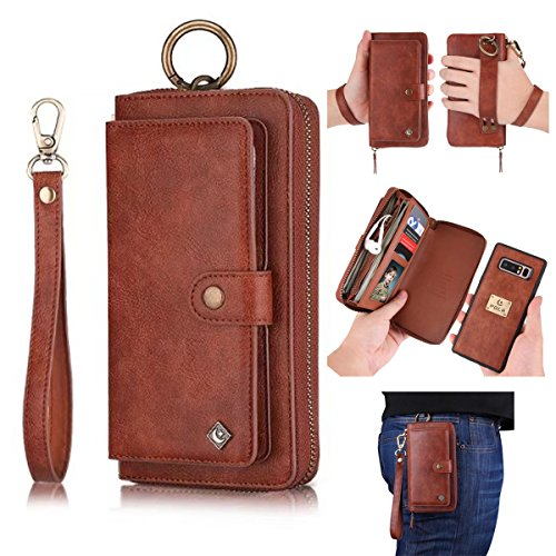 Galaxy Note 8 Leather Flip Case Cover,Galaxy note 8 wallet Case For Women and Men,AIFENG [14 Card Holder][Zipper][Magnetic Detachable]Wallet Folio Case Leather Pouch For Samsung Galaxy note 8,Brown