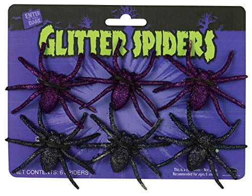 Fun World Glitter Spiders, 6-Pack, Assorted - Colors