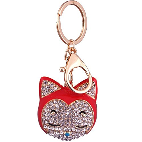 Plated Silver Rhinestone Ring Key - Youngate Lovely Fox Head Silver Plated Keychain Rhinestone Keyring Car Pendant (Height(11.3cm/4.45inch) Red£