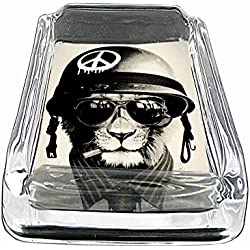 Army Cat Glass Square Ashtray