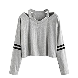 Iluci Women Teen Girls Tops Hoodie Sweatshirt Striped Crop Tops Long Sleeve V Neck Causal Blouse Shirts On Sale Gray S