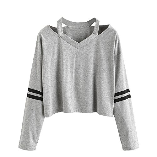 ILUCI Women Teen Girls Tops Hoodie Sweatshirt Striped Crop Tops Long Sleeve V Neck Causal Blouse Shirts On Sale (Gray, S)