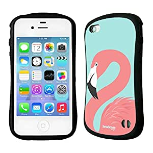 TopFshion Designs Pink Fashion Flamingos Hybrid Gel Back Case for Apple iPhone 4 4S