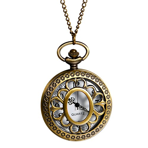 Antique Bronze Unisex Hollow Sunflower Carving 24H Arabic Markers Pocket Watch With - 24h Sunflowers