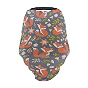 Baby Car Seat Cover Canopy and Nursing Cover | Breathable, Stretchy, Universal Fit | Multi-use 5-in-1 | Unisex Woodland Fox Pattern