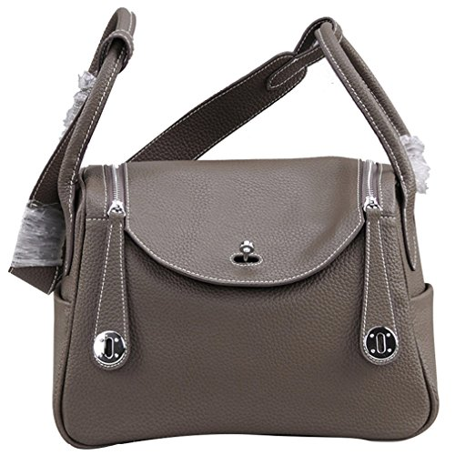 Palace Lindy Style Genuine Leather Brown Top-handle Crossbody Women Bag - 30cm