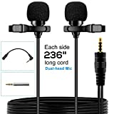 EASJOY Dual-head Lavalier Microphone,236'' Clip-on mini Omnidirectional Condenser lapel clip on mic interview for Apple Iphone,Ipad,Ipod,Android,PC,Recording Youtube,Interview,Video Conference,Podcast