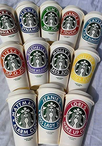 Personalized Reusable Starbucks Coffee Cup 16oz - SHIPS FREE - Variety of Colors Available ()