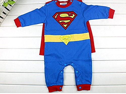 StylesILove Baby Boy Superman Costume Jumpsuit and Cape Blue (3-6 Months)