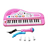 Kids-PianoSanmersen-Kids-Electronic-Organ-Keyboard-Piano-37-Keys-with-Microphone-Mike-Rock-Children-Beginner-Musical-Educational-Toy-Gift-Pink