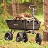 Gorilla Carts GOR866D Heavy-Duty Garden Poly Dump Cart with 2-In-1 Convertible Handle, 1,200-Pound Capacity, 40-Inch by 25-Inch Bed, Black Finish