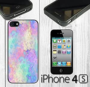 Colorful Watercolor Mystical Paint Custom made Case/Cover/skin FOR iPhone 4/4s - Black - Rubber Case
