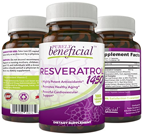 RESVERATROL1450 - 90day supply, 1450mg per Serving of Potent Antioxidants & Trans-Resveratrol, Promotes Anti-Aging, Cardiovascular Support, Maximum Benefits