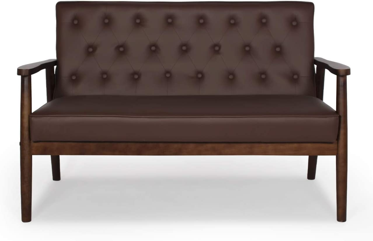Mid-Century Modern Faux Leather Loveseat Chair Wooden Arm 2-Seater Living Room Chairs Retro Armchair