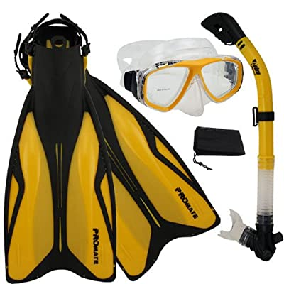 PROMATE ForcePace Fins Dry Snorkel Scuba Diving Mask Snorkeling Set Rx lens prescription mask AVAILABLE/ SCS0083
