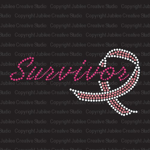 Survivor Pink Ribbon Iron On Rhinestone Crystal Rhinestud T-Shirt Transfer by JCS ()