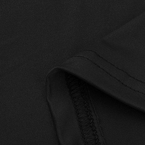 Camicia Tops Spalla Donna shirt Maglietta Nuda Corta Casual Maglia Manica Blusa Nero Camicetta Byste T qRgxa5A