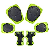[Diamond Talk] Sports Protective Gear Safety Pad Safeguard (Knee Elbow Wrist) Support Pad Set Equipment for Kids Youth Roller Bicycle BMX Bike Skateboard Protector Guards Pads(3 Pcs Green)