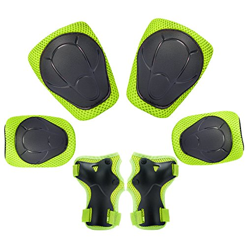 Child Kids Protective Gear Set,Knee and Elbow Pads with Wrist Guards Toddler for Multi-sports Cycling ,Bike,Rollerblading, Skating, Volleyball (Green)