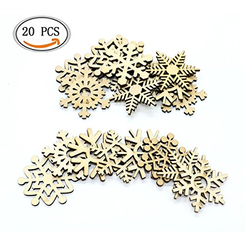 Snowflake Gift Tag - IDS 20pcs Christmas Tree Ornaments Wooden Hanging Snowflake Shapes Cutouts Craft Embellishment Gift Tag Wood Ornament for Weding Christmas Home DIY