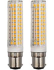 Dimbare 9W B15D LED-gloeilampen 3000K warm wit vervanging 100W halogeenlamp AC 220-240V 360 graden hoek voor naaimachinelampen, plafondventilatorlampen, verpakking van 2 stuks [herbruikbaar]