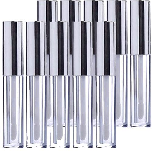 KEAIYYJ Lip Gloss Tubes with Wand Silver Empty Plastic Lipstick Tube Container Makeup 10ml/0.34 oz Reusable Bottle for DIY 10 Pack