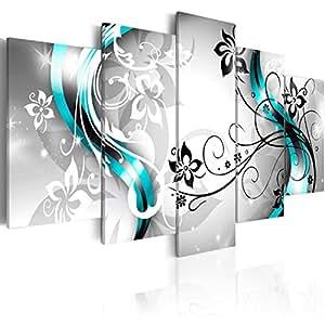 Cuadro en Lienzo 100x50 cm- 3 tres colores a elegir - 5 partes - Impresion en calidad fotografica - Cuadro en lienzo tejido-no tejido - flores abstraccion 020110-150 100x50 cm B&D XXL