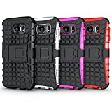 Galaxy S6 Case, HLCT Rugged Shock Proof Dual-Layer PC and Soft Silicone Case With Built-In Kickstand for Samsung Galaxy S6 (2015) (Black)