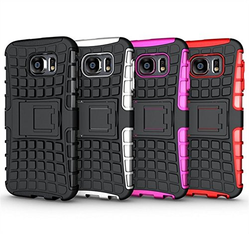 Price comparison product image Galaxy S6 Case,  HLCT Rugged Shock Proof Dual-Layer PC and Soft Silicone Case With Built-In Kickstand for Samsung Galaxy S6 (2015) (Black)