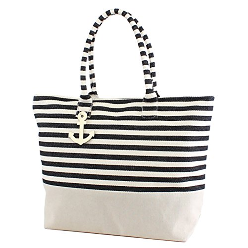 Black Large Zipper Top Stripe Canvas Look Beach Bag Tote - 22